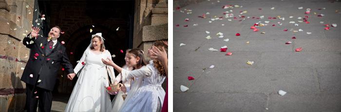 mariage rennes bretagne lancer fleurs sortie eglise